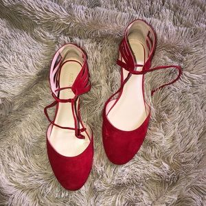 Red Nine West ankle tie flats